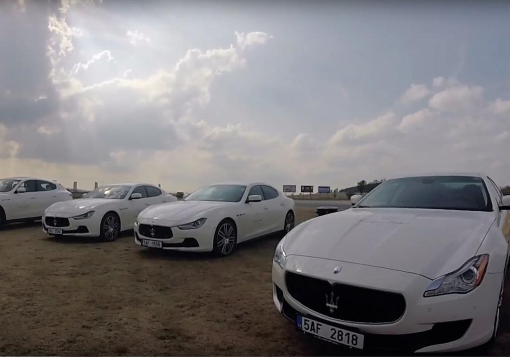 Setkání přátel značky Maserati na polygonu u Příbrami