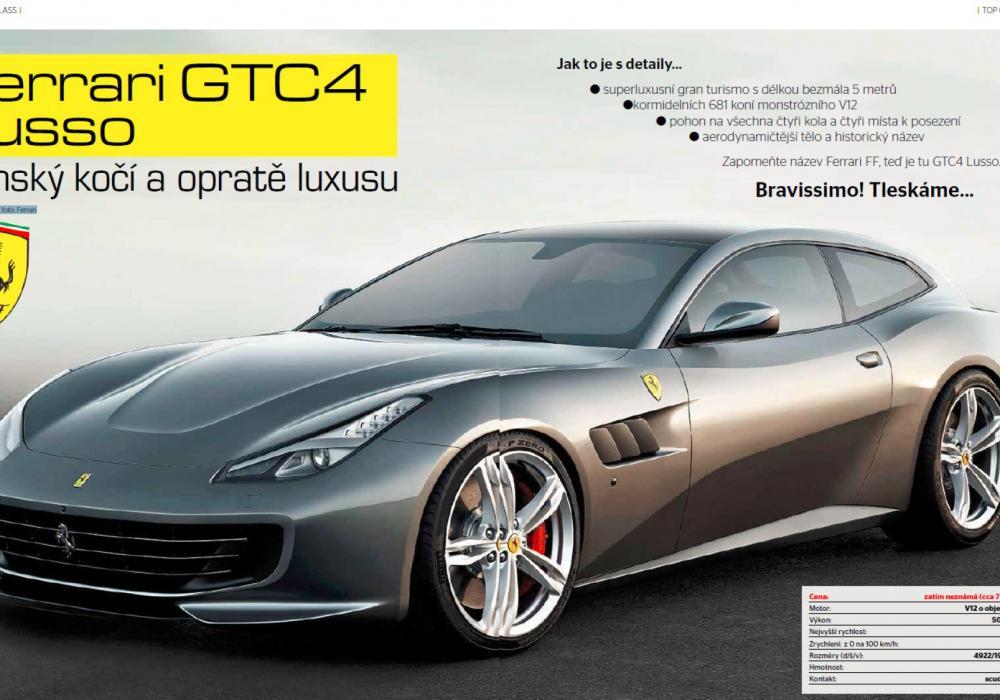 TOP CLASS: Ferrari GTC4 Lusso Panský kočí a opratě luxusu